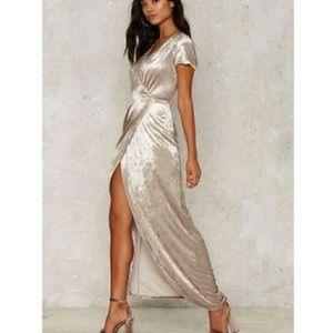 NASTY GAL Velvet Kimono Wrap Maxi Dress Size Small